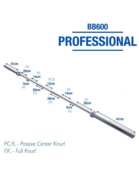 Professional Men's 20kg Olympic Barbell BB600