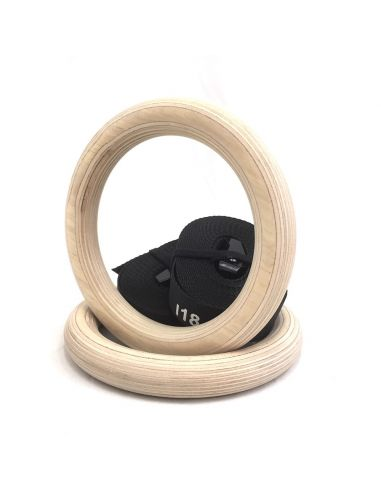Premium Wood Gym Rings - Commercial