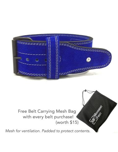 Suede Leather Powerlifting Belt 4 inch (10mm) - Single Prong  (with free mesh bag)