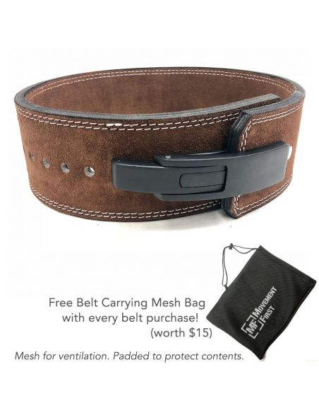 Lever Suede Leather Powerlifting Belt 4 inch  (with free mesh bag)